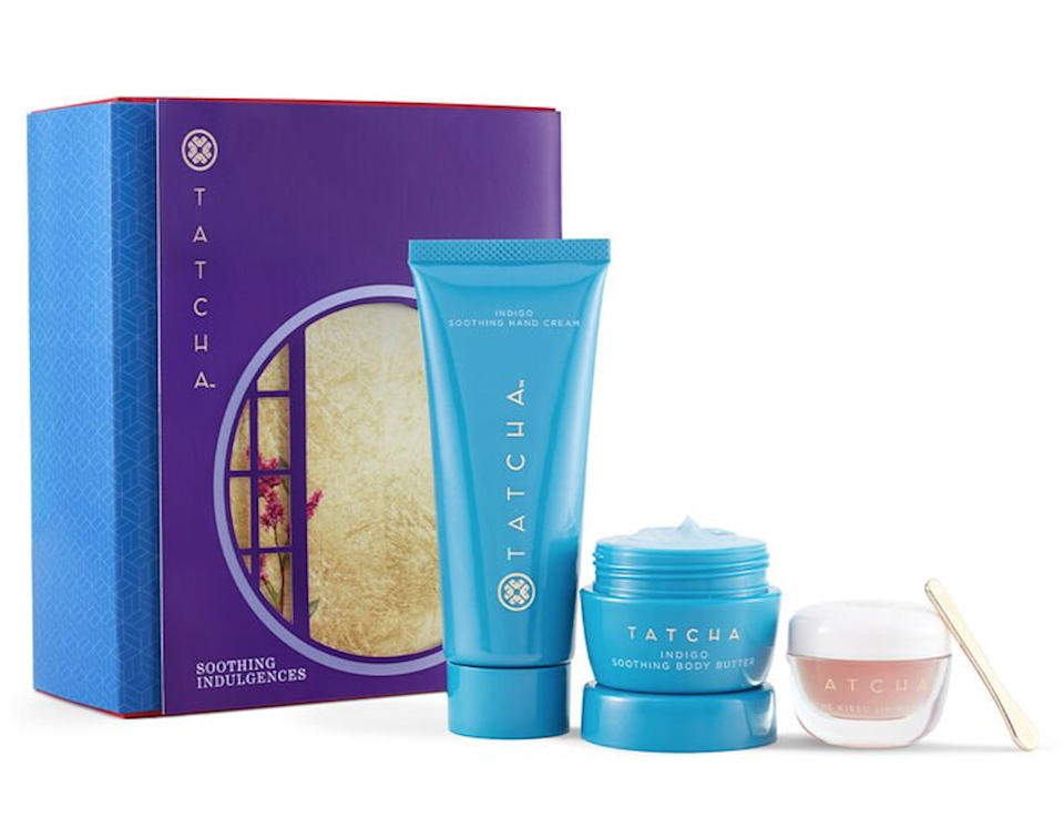 "Tatcha is one of Meghan Markle's <a href=""https://www.glamour.com/about/tatcha?mbid=synd_yahoo_rss"" rel=""nofollow noopener"" target=""_blank"" data-ylk=""slk:favorite skincare brands"" class=""link rapid-noclick-resp"">favorite skincare brands</a> for a good reason—it works. This set will be a lifesaver to anyone kvetching over the dry air winter brings. It includes the Indigo Soothing Hand Cream, the Indigo Soothing Body Butter, and the Kissu Lip Mask—all of which packed with Squalane to calm irritated skin and Japanese indigo, a special botanical that helps <a href=""https://www.glamour.com/about/dry-skin?mbid=synd_yahoo_rss"" rel=""nofollow noopener"" target=""_blank"" data-ylk=""slk:soothe dry skin"" class=""link rapid-noclick-resp"">soothe dry skin</a>. $58, Tatcha. <a href=""https://www.tatcha.com/product/SB10040T.html"" rel=""nofollow noopener"" target=""_blank"" data-ylk=""slk:Get it now!"" class=""link rapid-noclick-resp"">Get it now!</a>"