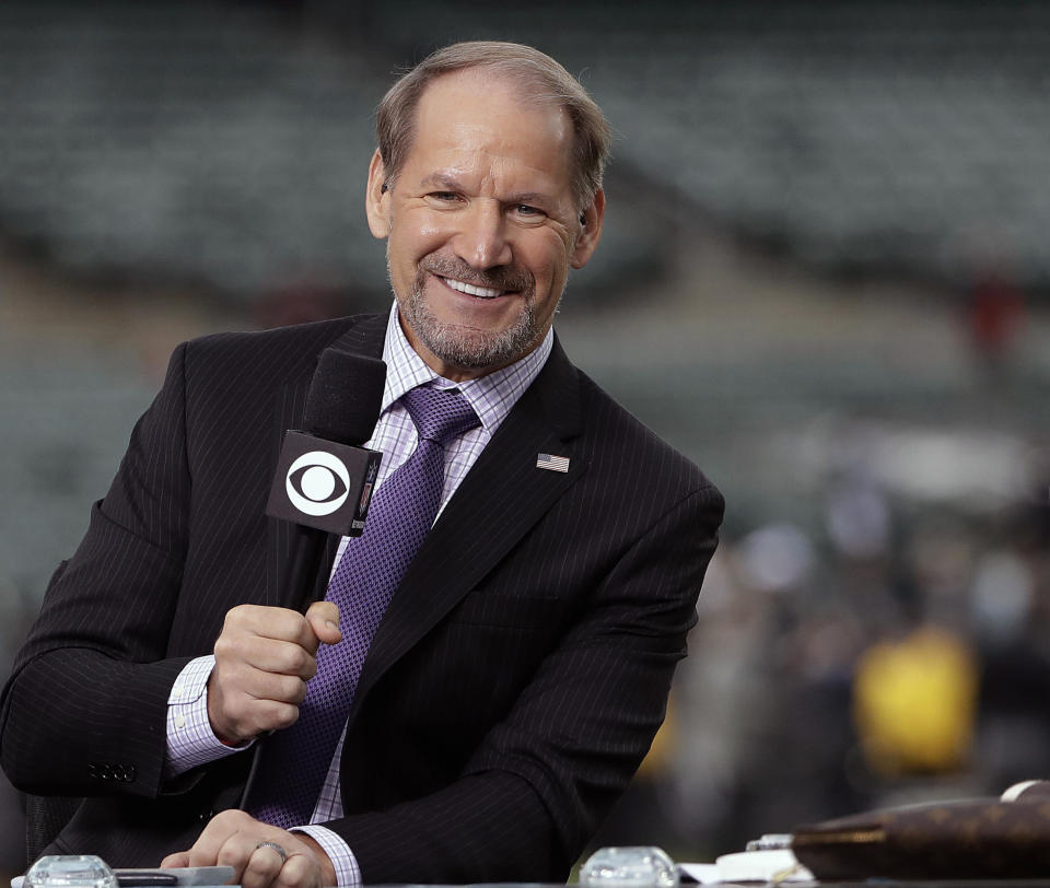 """FILE - In this Thursday, Oct. 19, 2017 file photo, NFL broadcaster Bill Cowher speaks on set before an NFL football game between the Oakland Raiders and the Kansas City Chiefs in Oakland, Calif. Next to seeing the Pittsburgh Steelers get back to the Super Bowl, Sunday's matchup has many personal ties for CBS """"The NFL Today"""" analyst Bill Cowher. The Hall of Fame coach had Tampa Bay coach Bruce Arians on his staff in Pittsburgh and was the defensive coordinator with the Kansas City Chiefs for three seasons.(AP Photo/Marcio Jose Sanchez, File)"""