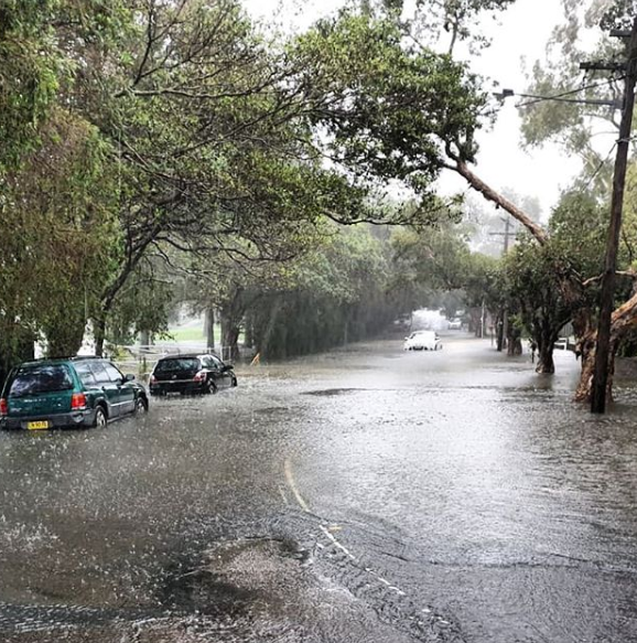 Cars are seen on a flooded street in Sydney's Marrickville. Source: Instagram