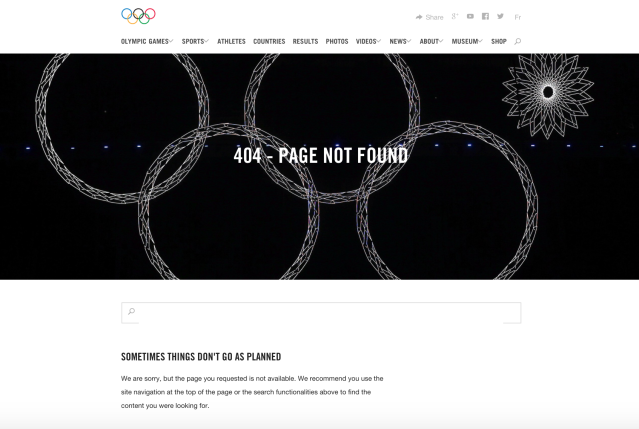 The Olympics website's 404 page is a light-hearted dig at the Sochi Opening Ceremony. (Olympic.org)