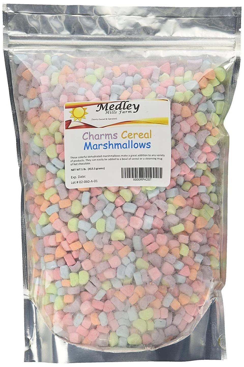 """Get your sweet tooth on with these marshmallows that'll be so good as an afternoon snack or topping for hot cocoa.<br /><br /><strong>Promising review:</strong>""""Buying these charms was one of the best decisions of my life. The bag is twice the size of my head. The marshmallows are aesthetically pleasing and delicious. It's everything I ever wanted in a snack."""" —<a href=""""https://amzn.to/3eVhdIv"""" target=""""_blank"""" rel=""""nofollow noopener noreferrer"""" data-skimlinks-tracking=""""5851345"""" data-vars-affiliate=""""Amazon"""" data-vars-href=""""https://www.amazon.com/gp/customer-reviews/R8EJ8D9GJPM6X?tag=bfnusrat-20&ascsubtag=5851345%2C19%2C34%2Cmobile_web%2C0%2C0%2C16317611"""" data-vars-keywords=""""cleaning"""" data-vars-link-id=""""16317611"""" data-vars-price="""""""" data-vars-product-id=""""20939321"""" data-vars-product-img="""""""" data-vars-product-title="""""""" data-vars-retailers=""""Amazon"""">Amazon Customer<br /><br /></a><a href=""""https://amzn.to/3tWEPRp"""" target=""""_blank"""" rel=""""noopener noreferrer""""><strong>Get it from Amazon for$10.99.</strong></a>"""