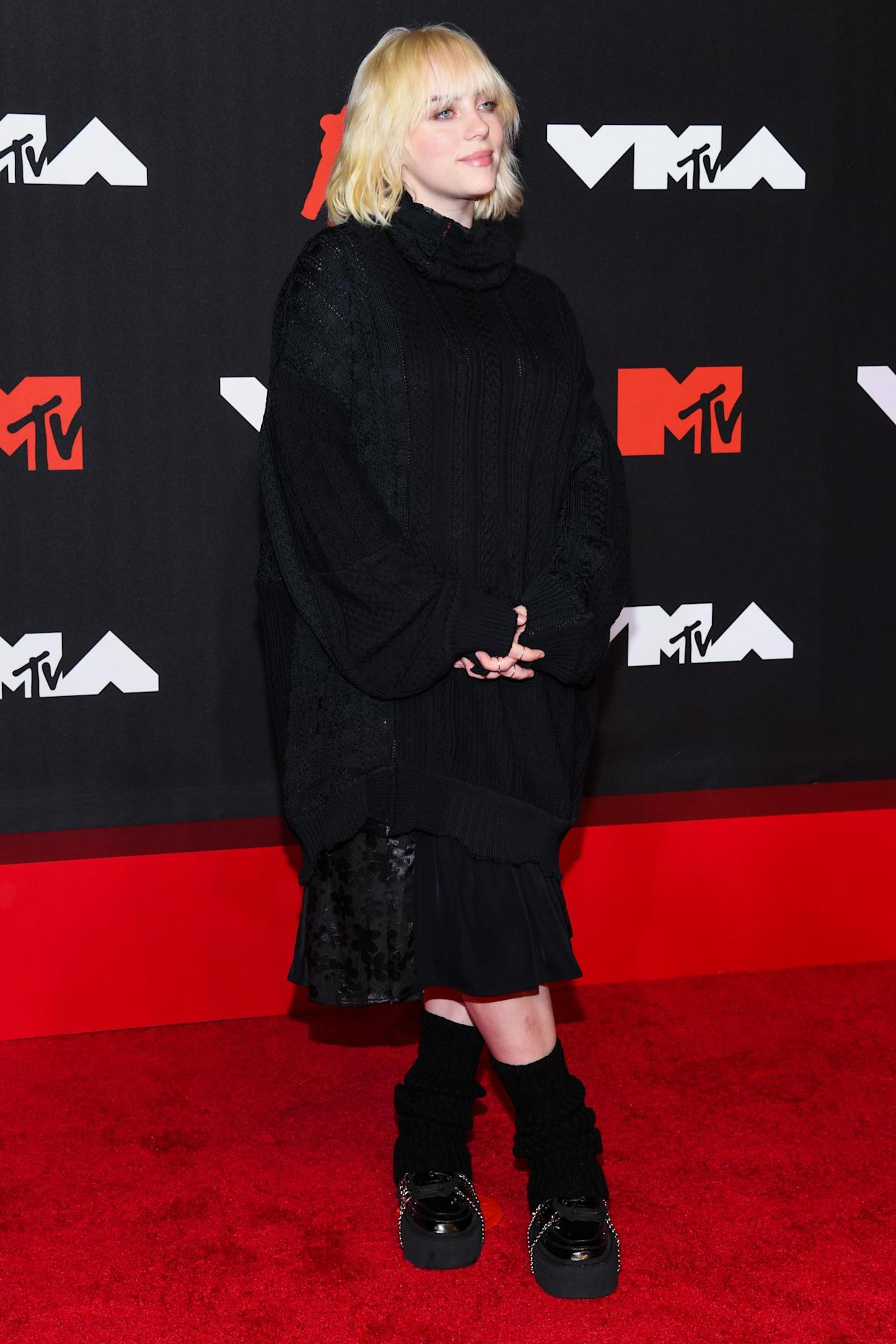 Billie Eilish walking on the red carpet at the 2021 MTV Video Music Awards held at the Barclay's Center in Brooklyn, NY on September 12, 2021. (Photo by Anthony Behar/Sipa USA)