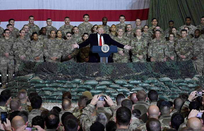 President Donald Trump speaks to the troops during a surprise Thanksgiving day visit at Bagram Air Field, on Nov. 28, 2019, in Afghanistan.