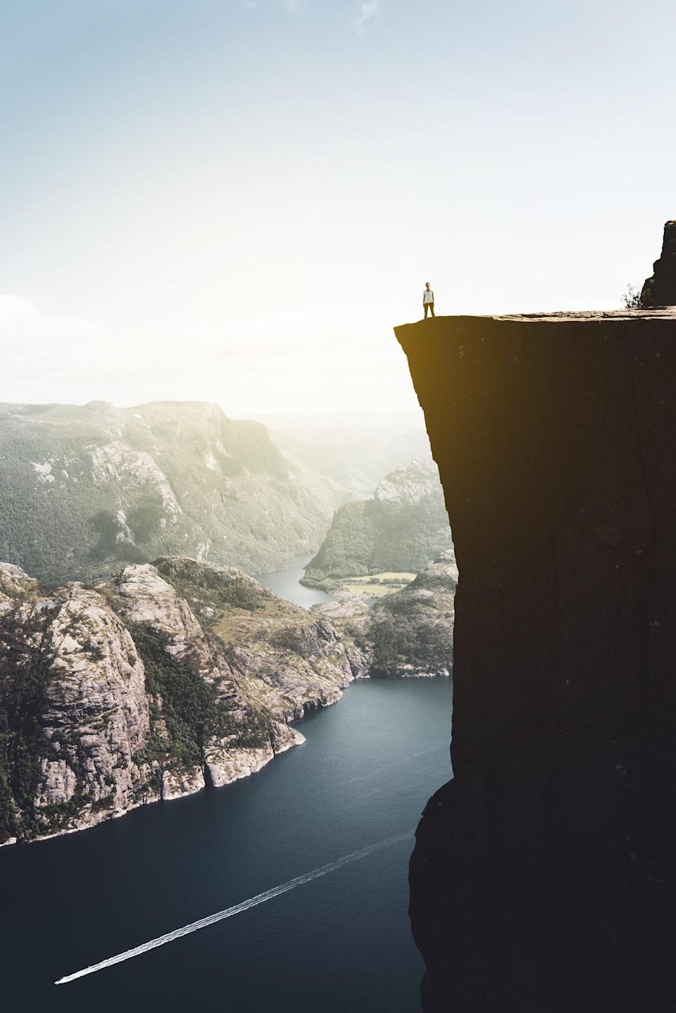 <p>Preikestolen, or the Pulpit Rock, is a huge destination point for hikers, adventurous travelers, and anyone else willing to brave the heights for some amazing views. </p>