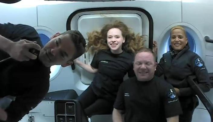 The Inspiration4 crew in orbit (left to right): mission commander Jared Isaacman, Hayley Arceneaux, Chris Sembroski and Sian Proctor. / Credit: SpaceX