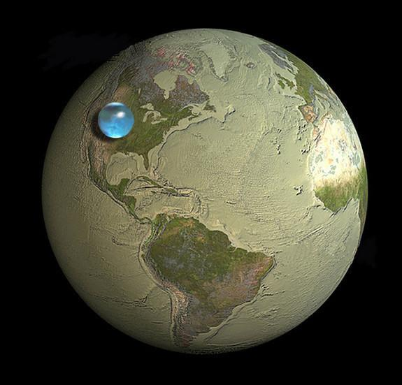 If all the world's water were to form a single drop, this is how big it would be: A sphere stretching from Salt Lake City, Utah to Topeka, Kansas. Though this mega-droplet looks small compared to Earth's bulk, the two dimensionality of this ima