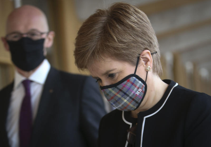 EDINBURGH, SCOTLAND - OCTOBER 1: First Minister Nicola Sturgeon MSP arrives for First Minister's Questions at the Scottish Parliament at Holyrood on October 1, 2020 in Edinburgh, Scotland. (Photo by Fraser Bremner - Pool/Getty Images)