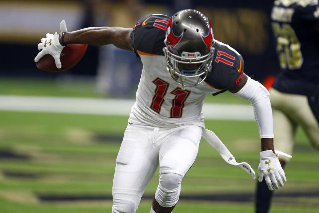 Tampa wide receiver DeSean Jackson is set to do an end-zone jig on the fast track in Atlanta. (AP Photo/Butch Dill)