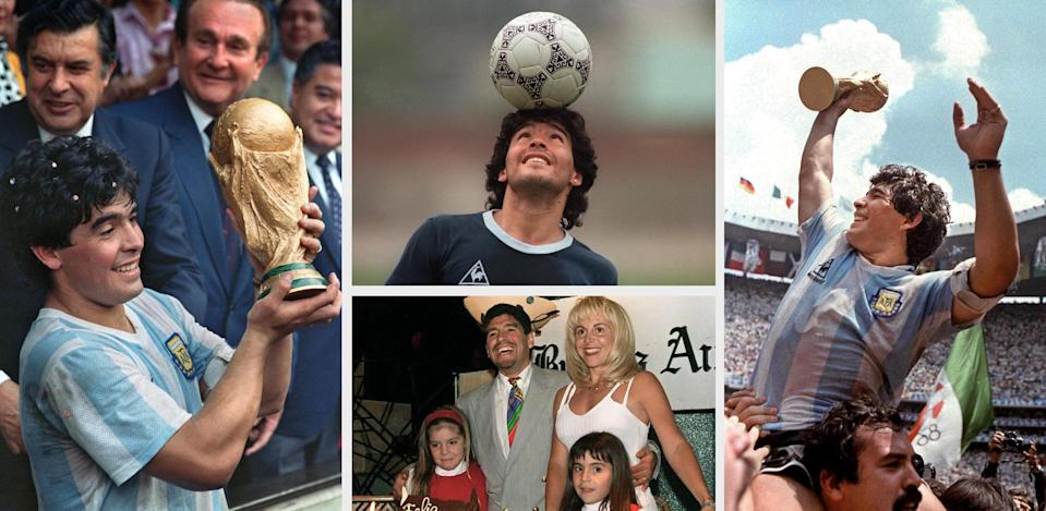 (FILES) Combo of Argentine football legend Diego Maradona at the peak of his career, displaying the World Soccer Cup won in Mexico 86 (L and R), during a training session of Mexico«s World Cup (C-top), and with his family - his then wife Claudia Villafañe and their daughters Dalma y Gianina - on October 1985 celebrating his birthday. Maradona, who came close to death with heart and lung problems last month, was back in intensive care in hospital on May 05, 2004, suffering from indigestion. The 43-year-old 1986 World Cup winning captain was readmitted to the Suizo-Argentina hospital in Buenos Aires where he was treated from April 18 to 29.   AFP PHOTO (Photo by AFP / AFP)        (Photo credit should read AFP/AFP via Getty Images)