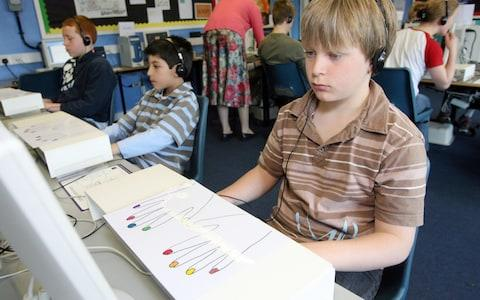 Children learn the skill of touch typing in a holiday class at Orleans Park School in Twickenham - Credit: Ian Jones