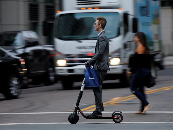 "A Bird electric scooter. <p class=""copyright"">Mike Blake/Reuters</p>"