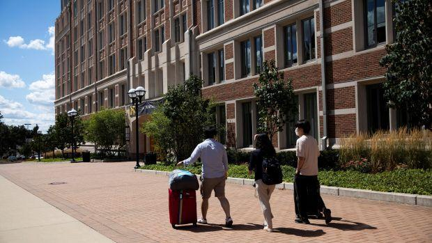 Students move back into the dorm for fall semester.