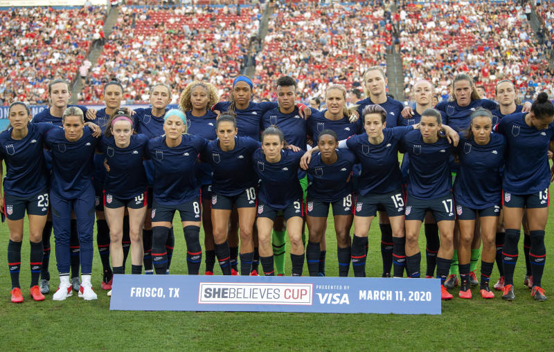 The United States Women's National Team poses for a team photo before a SheBelieves Cup women's soccer match against Japan, Wednesday, March 11, 2020 at Toyota Stadium in Frisco, Texas. (AP Photo/Jeffrey McWhorter)