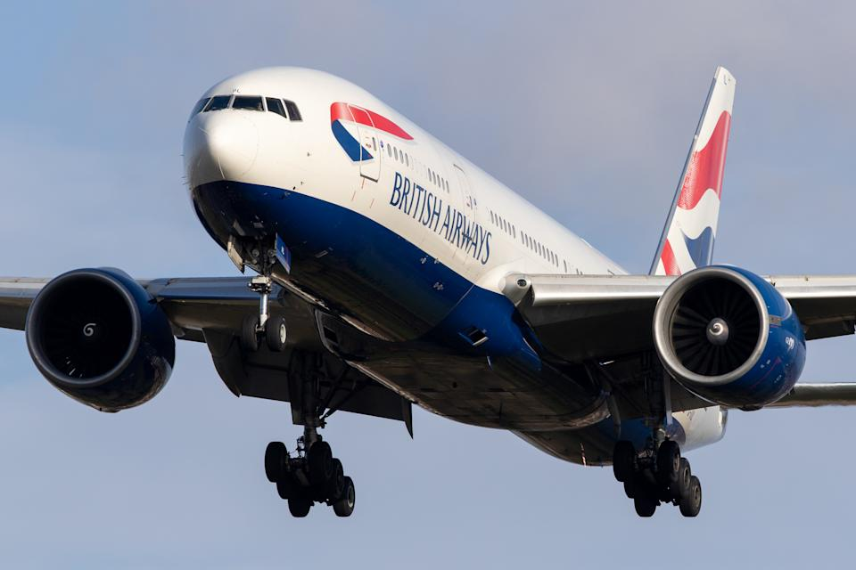 A British Airways Boeing 777 lands at London Heathrow Airport on 28th October 2020  (Photo by Robert Smith/MI News/NurPhoto via Getty Images)