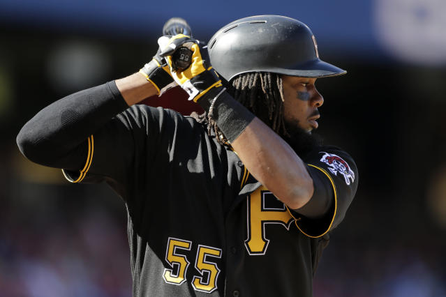 Pittsburgh Pirates' Josh Bell bats during a baseball game against the Washington Nationals, Sunday, Oct. 1, 2017, in Washington. (AP Photo/Mark Tenally)