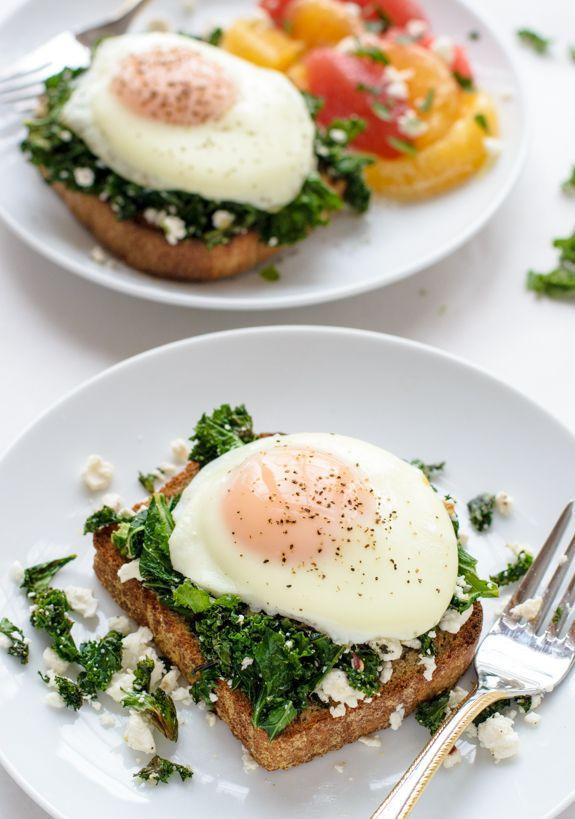 "<p>And you thought you had to wait until lunch to break out the kale.</p><p>Get the recipe from <a href=""http://www.wellplated.com/kale-feta-egg-toast/#_a5y_p=3422321"" rel=""nofollow noopener"" target=""_blank"" data-ylk=""slk:Well Plated"" class=""link rapid-noclick-resp"">Well Plated</a>.</p>"