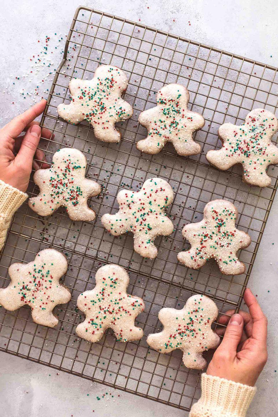 "<p>These absolutely adorable gingerbread men are super-simple — you don't even have to chill the dough.</p><p><strong>Get the recipe at <a href=""https://www.lecremedelacrumb.com/gingerbread-sugar-cookies/"" rel=""nofollow noopener"" target=""_blank"" data-ylk=""slk:Creme de la Crumb"" class=""link rapid-noclick-resp"">Creme de la Crumb</a>.</strong></p><p><a class=""link rapid-noclick-resp"" href=""https://www.amazon.com/Happy-Gingerbread-Man-Cookie-Cutter/dp/B01M8II4T2?tag=syn-yahoo-20&ascsubtag=%5Bartid%7C10050.g.647%5Bsrc%7Cyahoo-us"" rel=""nofollow noopener"" target=""_blank"" data-ylk=""slk:SHOP COOKIE CUTTERS"">SHOP COOKIE CUTTERS</a></p>"