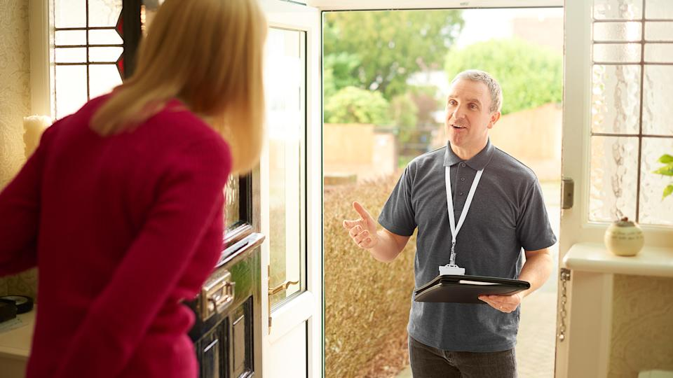 a tradesman or sales man call on a householder to ask if she needs his services.