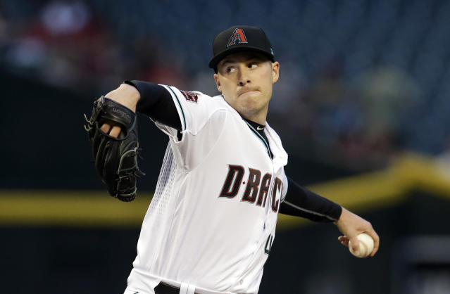 Arizona Diamondbacks pitcher Patrick Corbin throws in the first inning during a baseball game against the San Francisco Giants, Tuesday, April 17, 2018, in Phoenix. (AP Photo/Rick Scuteri)