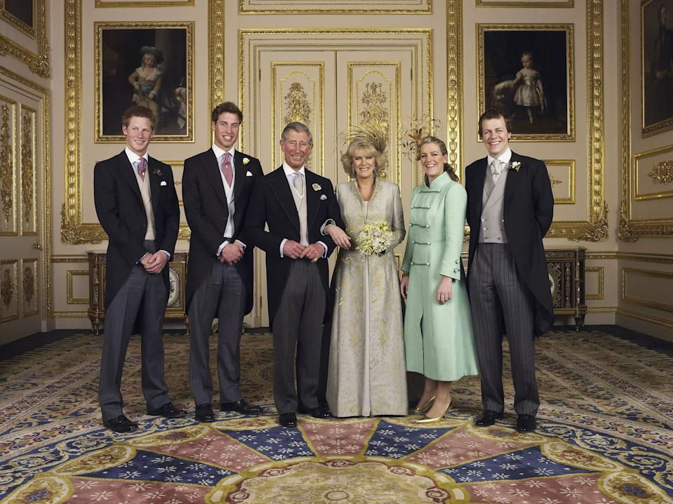 (EMBARGOED TILL  0001 BST MONDAY 11 APRIL 2005) WINDSOR, ENGLAND - APRIL 9: TRH Prince Charles, The Prince of Wales and The Duchess Of Cornwall, Camilla Parker-Bowles for the Official Wedding photograph with their children (L-R Prince Harry, Prince William, Laura and Tom Parker Bowles, in the White Drawing Room at Windsor Castle following their marriage. Saturday April 9 2005, in Windsor, England. (Photo by Hugo Burnand/Pool/Tim Graham Picture Library/Getty Images)