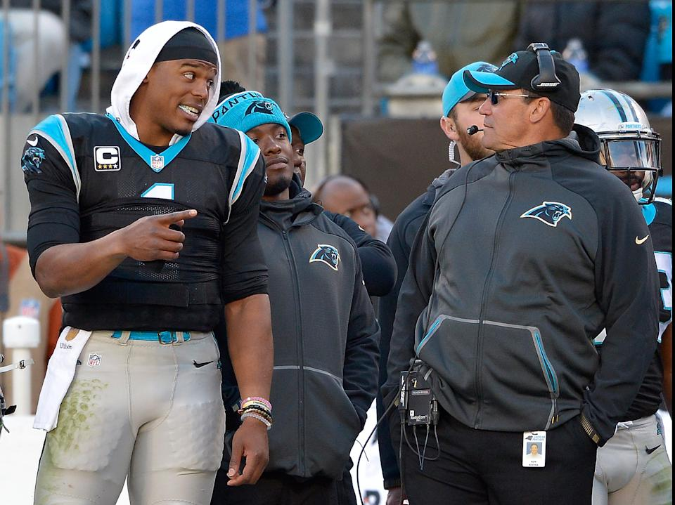 In 2015, Ron Rivera and Cam Newton led the Panthers to a 15-1 season that peaked with an NFC championship. (Photo by Grant Halverson/Getty Images)