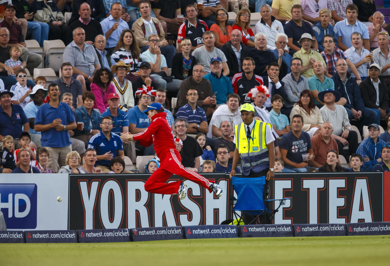 England's Eoin Morgan drops Australia's Aaron Finch at the boundary during the International Twenty20 match at the Ageas Bowl, Southampton.