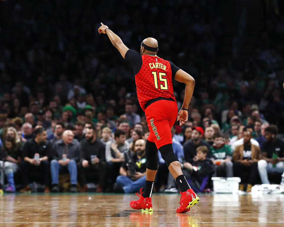 Vince Carter of the Atlanta Hawks enters the game during the fourth quarter against the Boston Celtics at TD Garden on Friday, his final game in the city.