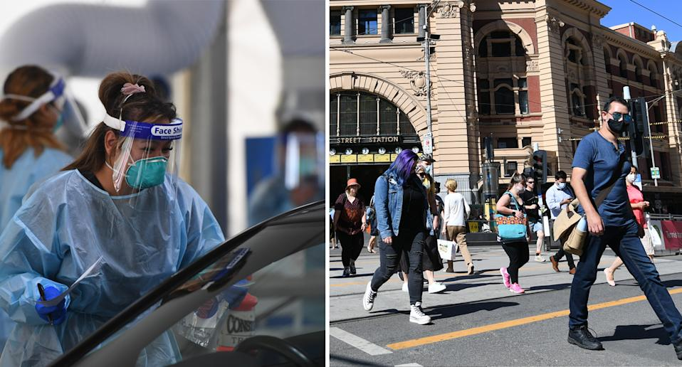 Woman in PPE administering a Covid test (left) people on the street in Melbourne wearing masks (right).