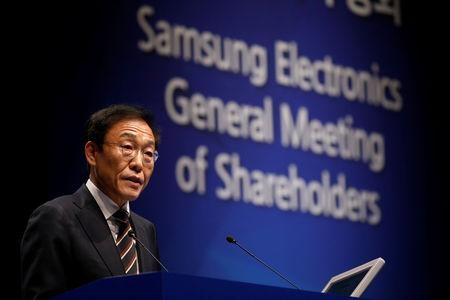 Kim Ki-nam, president and co-chief executive officer of Samsung Electronics Co.¡¯s semiconductor division, speaks during the company's annual general meeting at a company's office building in Seoul, South Korea, March 20, 2019.   REUTERS/Kim Hong-Ji/Pool