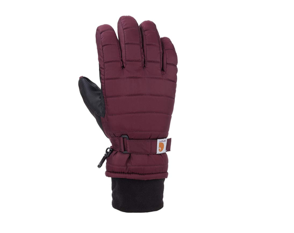 """<p><strong>Carhartt</strong></p><p>amazon.com</p><p><strong>$22.99</strong></p><p><a href=""""https://www.amazon.com/dp/B06XDQFCDY?tag=syn-yahoo-20&ascsubtag=%5Bartid%7C2141.g.25308582%5Bsrc%7Cyahoo-us"""" rel=""""nofollow noopener"""" target=""""_blank"""" data-ylk=""""slk:SHOP NOW"""" class=""""link rapid-noclick-resp"""">SHOP NOW</a></p><p>The Carhartt brand is known for being durable, and that's why so many people who work in cold weather swear by their products—and these gloves are no exception. They're thick and built for warmth, <strong>have a waterproof-wicking insert, and fleece cuffs</strong> that keep your entire hand cozy. Just be sure to follow the size chart because some reviewers have warned that they might run too small or large. They're also a little bulky, so don't expect to be scrolling through Instagram while you're wearing them. </p>"""