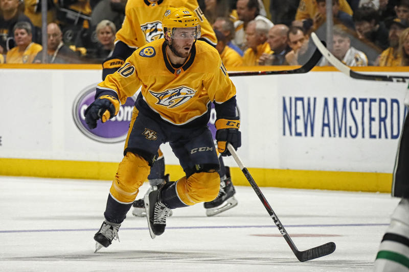 NASHVILLE, TENNESSEE - APRIL 20: Colton Sissons #10 of the Nashville Predators plays against the Dallas Stars in Game Five of the Western Conference First Round during the 2019 NHL Stanley Cup Playoffs at Bridgestone Arena on April 20, 2019 in Nashville, Tennessee. (Photo by Frederick Breedon/Getty Images)
