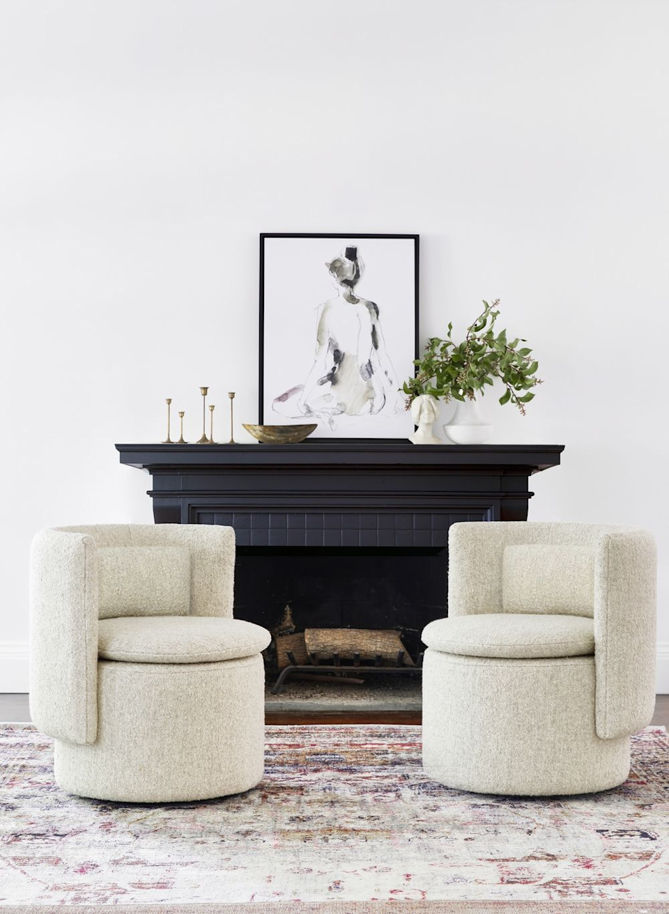 "<br><br><strong>Lulu & Georgia</strong> Hazel Swivel Chair in Natural Boucle, $, available at <a href=""https://go.skimresources.com/?id=30283X879131&url=https%3A%2F%2Fwww.luluandgeorgia.com%2Fhazel-swivel-chair-natural-boucle"" rel=""nofollow noopener"" target=""_blank"" data-ylk=""slk:Lulu & Georgia"" class=""link rapid-noclick-resp"">Lulu & Georgia</a>"