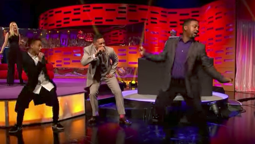 "Alfonso Ribeiro does ""the Carlton Dance"" with Will Smith and Jaden Smith on <em>The Graham Norton Show</em>. (Photo: The Graham Norton Show)"