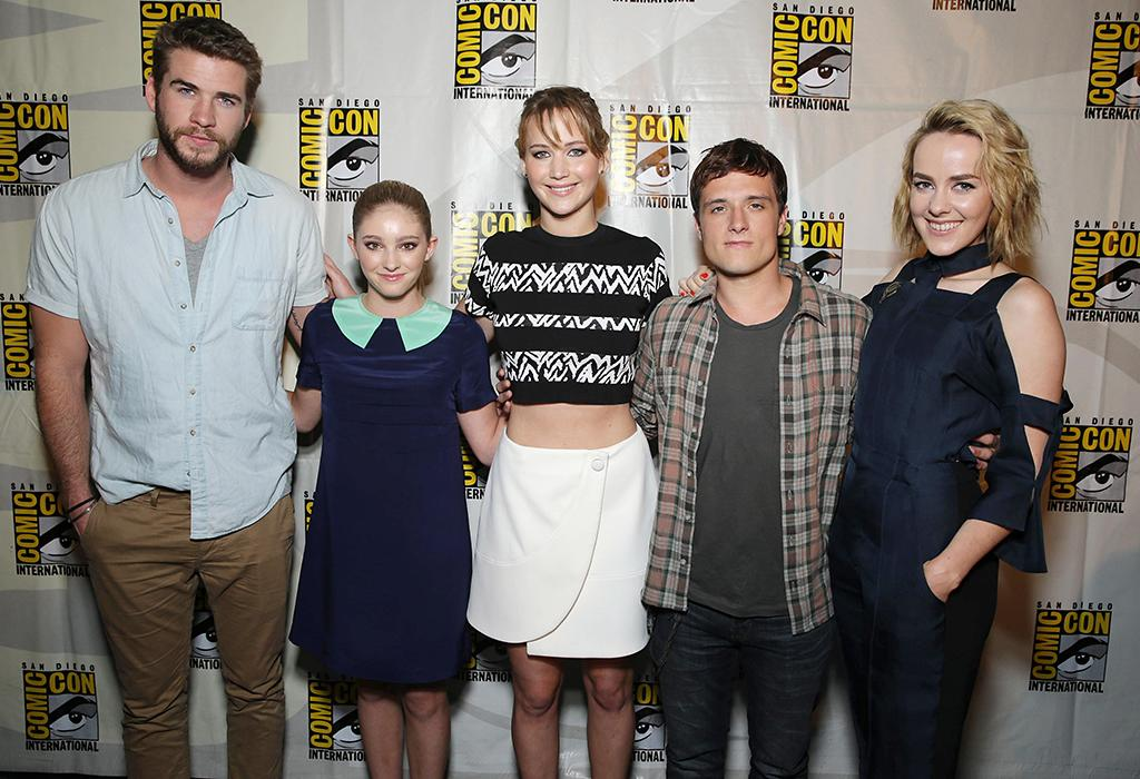 Liam Hemsworth, Willow Shields, Jennifer Lawrence, Josh Hutcherson and Jena Malone seen at Lionsgate Presentation at 2013 Comic-Con, on Saturday, July, 20, 2013 in San Diego, Calif. (Photo by Eric Charbonneau/Invision for Lionsgate/AP Images)