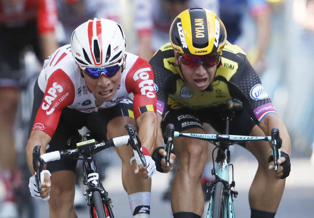 Australia's Caleb Ewan, left, and Netherlands' Dylan Groenewegen sprint to the finish line during the eleventh stage of the Tour de France cycling race over 167 kilometers (103,77 miles) with start in Albi and finish in Toulouse, France, Wednesday, July 17, 2019. Ewan won the stage. (AP Photo/Christophe Ena)