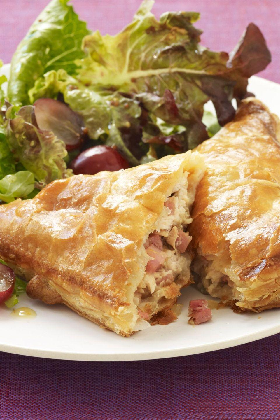 """<p>Nutty Gruyère, thyme, and mustard set the tone for these flavorful and delicious pastry pockets.</p><p><em><a href=""""https://womansday.com/food-recipes/food-drinks/recipes/a12411/ham-turkey-cheese-turnover-recipe-wdy1113/"""" rel=""""nofollow noopener"""" target=""""_blank"""" data-ylk=""""slk:Get the recipe from Woman's Day »"""" class=""""link rapid-noclick-resp"""">Get the recipe from Woman's Day »</a></em></p><p><strong>RELATED: </strong><a href=""""https://www.goodhousekeeping.com/food-recipes/g982/recipe-ideas-leftover-ham/"""" rel=""""nofollow noopener"""" target=""""_blank"""" data-ylk=""""slk:20+ Leftover Ham Recipes That Are Anything Bsut Boring"""" class=""""link rapid-noclick-resp"""">20+ Leftover Ham Recipes That Are Anything Bsut Boring</a></p>"""