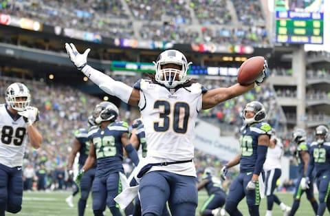 <span>Todd Gurley celebrates a touchdown during the Rams' 33-31 defeat of the Seahawks in week five</span> <span>Credit: Steven Bisig/USA Today </span>