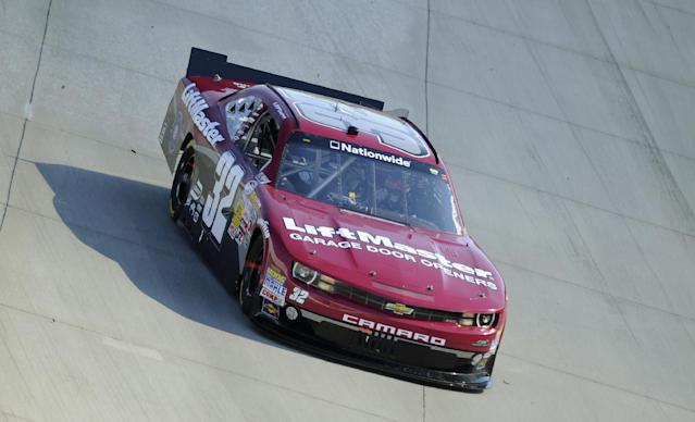 Kyle Larson drives during the NASCAR Nationwide Series auto race, Saturday, Sept. 28, 2013, at Dover International Speedway in Dover, Del. Larson finished in second place. (AP Photo/Nick Wass)