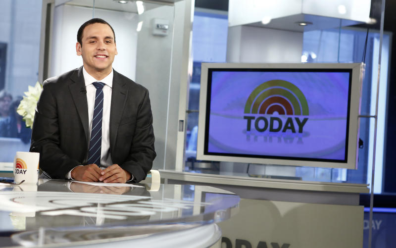 """This image released by NBC shows former news anchor A.J. Clemente on the """"Today"""" show, Wednesday, April 24, 2013 in New York. Clemente was fired Monday from a North Dakota television station after he opened his first-ever broadcast with obscenities on Sunday. (AP Photo/NBC, Peter Kramer)"""