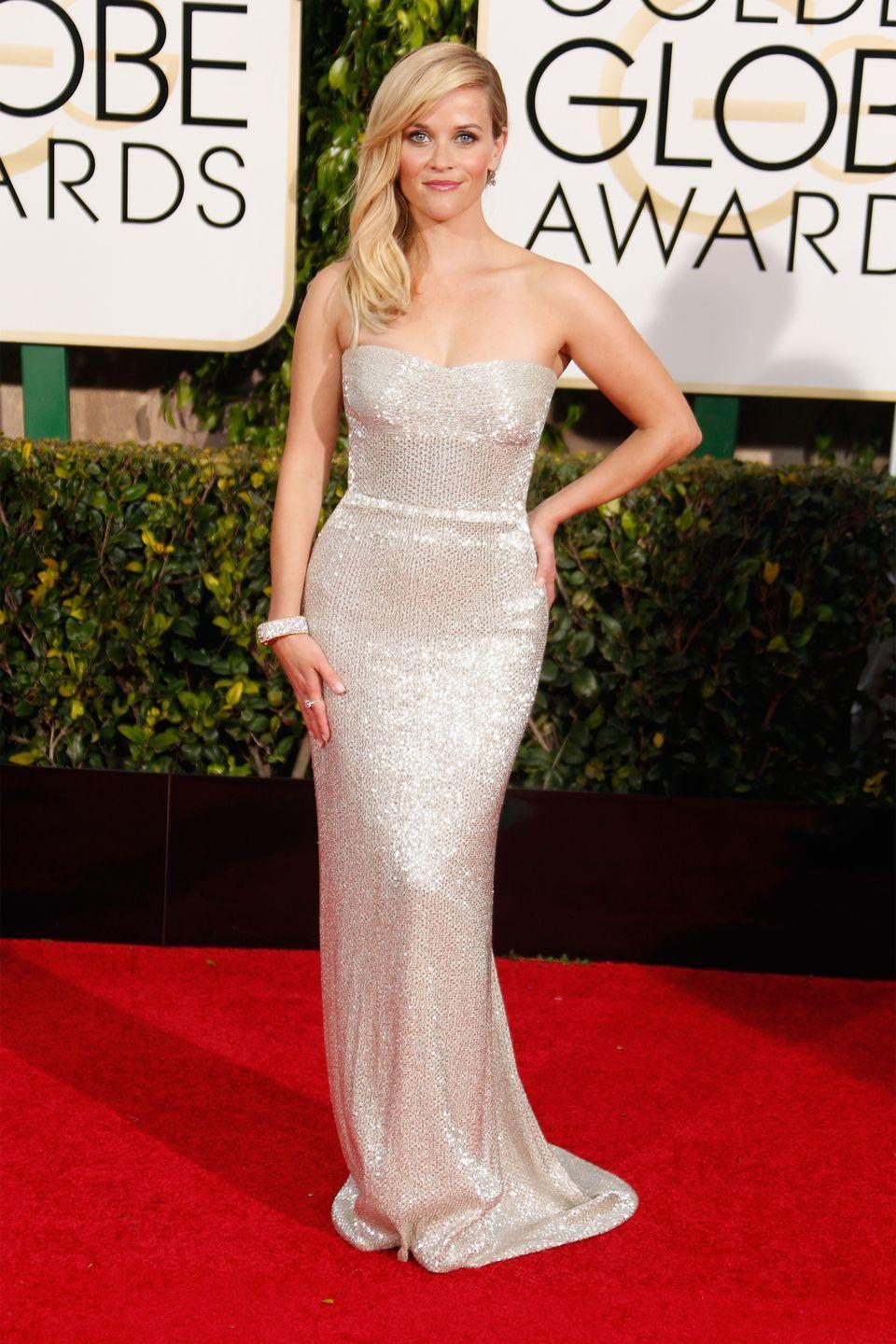 <p>No one does understated glamour better than Calvin Klein, the designer of Witherspoon's gown for the 2015 Globes where she was nominated for Best Actress in a Drama Motion Picture. </p>