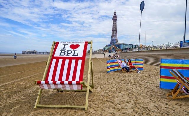 A giant deckchair on display (Peter Byrne/PA)