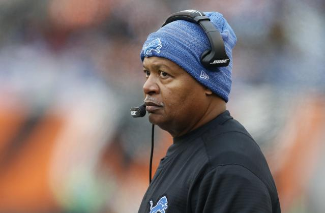 File- In this Dec. 24, 2017, file photo, then-Detroit Lions coach Jim Caldwell watches during the first half of the team's NFL football game against the Cincinnati Bengals in Cincinnati. The Browns have interviewed former Indianapolis and Detroit coach Caldwell for their job. Caldwell met Wednesday, Jan. 2, with general manager John Dorsey and others on the search committee at the teams facility in Berea, Ohio. The team is confirming interviews after they are completed. (AP Photo/Gary Landers, File)