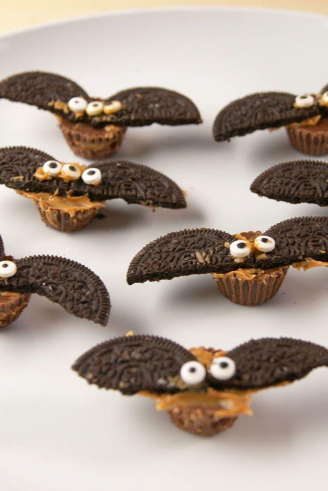 """<p>These are so easy to make, but look spooky festive.</p><p>Get the recipe from <a href=""""https://www.delish.com/holiday-recipes/halloween/videos/a56190/reeses-bats-video/"""" rel=""""nofollow noopener"""" target=""""_blank"""" data-ylk=""""slk:Delish"""" class=""""link rapid-noclick-resp"""">Delish</a>.</p>"""