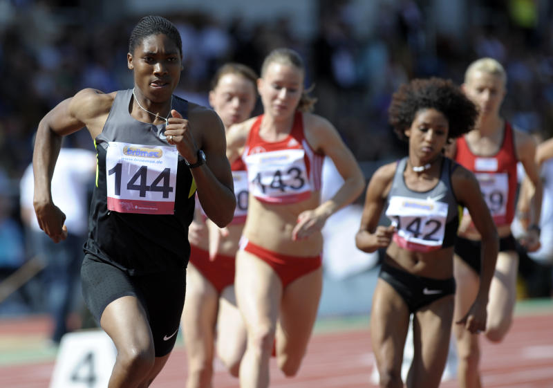 South Africa's Caster Semenya, left,   on her way to win the 800 meter race  at an athletics meeting in Haldesleben, Germany, Sunday July 15, 2012. (AP Photo/dapd/Jens Schlueter)