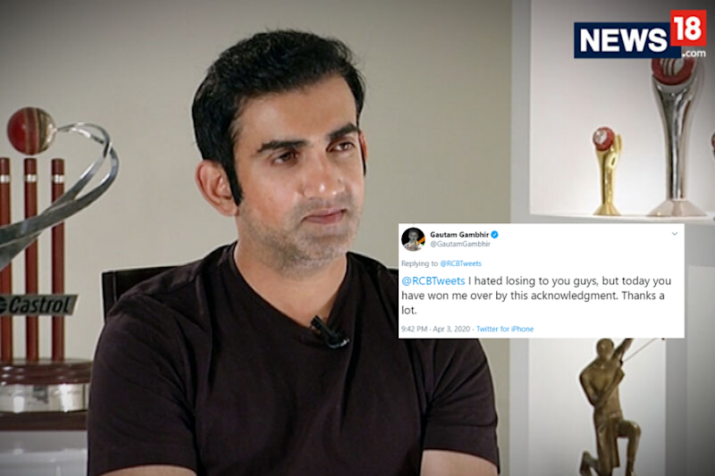 'You Have Won Me Over': Gambhir Thanks RCB After Donating to Coronavirus Relief Fund