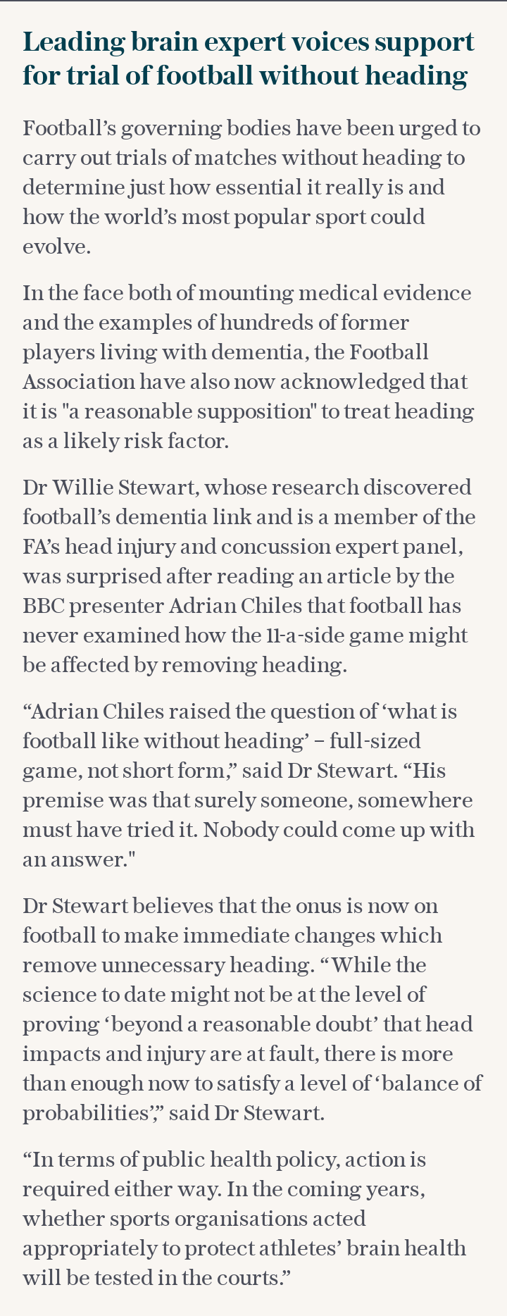 Leading brain expert voices support for trial of football without heading