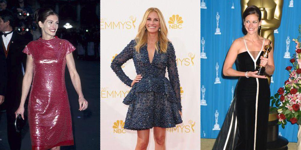 """<p>Julia Roberts' birthday is upon us, which means it's time to eat celebratory cake and celebrate all the years of Julia's killer style. The Oscar-winning actress has been serving <a rel=""""nofollow"""" href=""""https://www.redbookmag.com/fashion/g22981958/venice-film-festival-2018-red-carpet/"""">red carpet looks</a> since the roaring '90s, and there isn't one decade she hasn't nailed. </p>"""