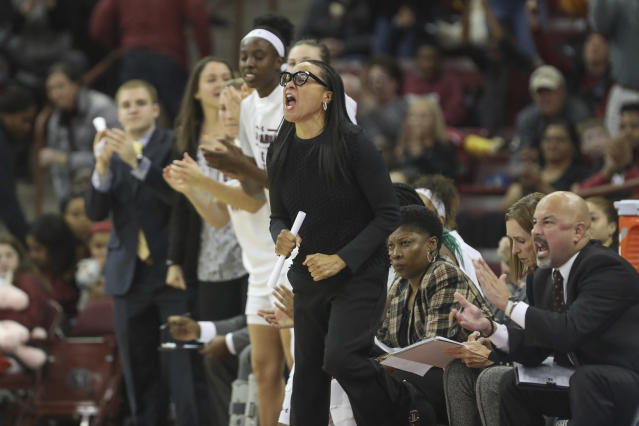 South Carolina coach Dawn Staley yells to her team during the first half of an NCAA college basketball game against Duke on Thursday, Dec. 19, 2019, in Columbia, S.C. (Tracy Glantz/The State via AP)
