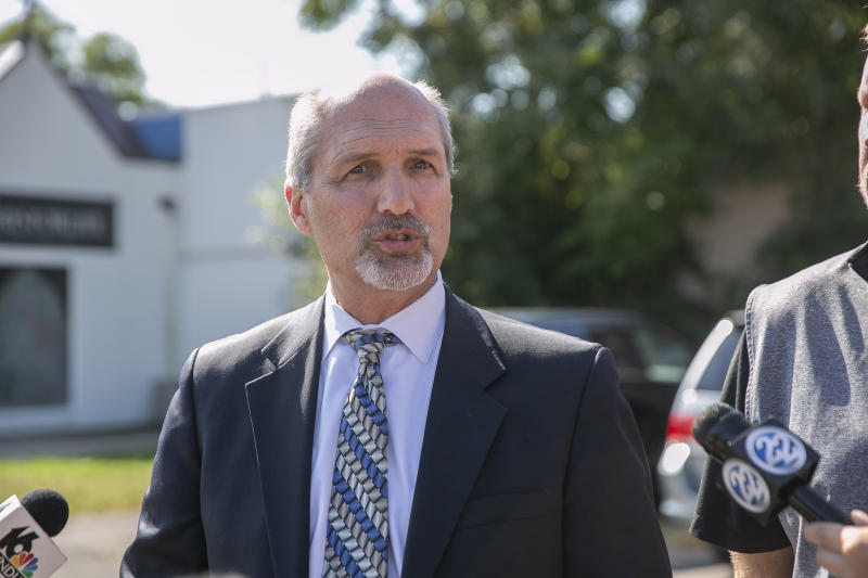 St. Joseph County prosecutor Ken Cotter holds a press conference at the Women's Pavilion on Thursday, Sept. 19, 2019, in South Bend, Ind. Cotter said Thursday that authorities have found no fetal remains at a shuttered abortion clinic once operated by the late abortion Dr. Ulrich Klopfer whose Illinois property was found to contain more than 2,200 medically preserved fetal remains.  (Santiago Flores/South Bend Tribune via AP)