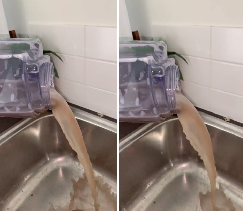 Video stills of purple container emptying brown water into laundry sink
